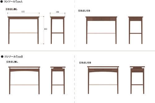 コンソールテーブルのデザイン案
